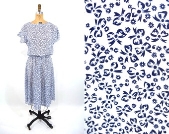 1980s dress vintage 80s navy blue bow novelty print dress M/L