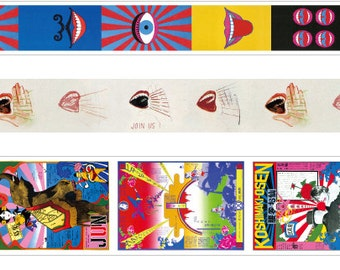 mt x artist series Washi Masking Tape - G8 Limited Edition - Tadanori Yokoo - Hand and Mouth / Posters
