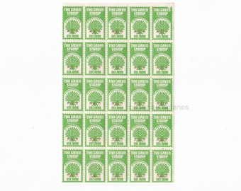 25 x Vintage Australian Tiki Green Trading Stamps for Altered Arts Mixed Media Collage Destash