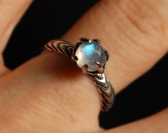 Sterling Silver and Moonstone Claw Ring