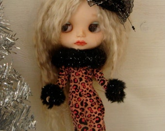 Gorgeous Fancy Fur Animal Print Vintage Barbie Fashion Dress Fits Blythe