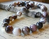 Bold Botswana Agate Necklace, Chunky Gemstone Jewelry, Grey and Sterling Silver Asymmetrical Statement Necklace