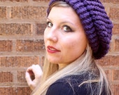 Plum Purple Knit Slouchy Beret - Amelie