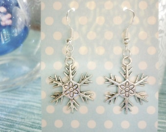 Silver Snowflake Earrings,Nordic Snowflake earrings,Christmas Snowflake earrings