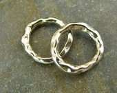 Rustic Round Links Artisan Sterling Silver - 2 Pieces  -  lrrc