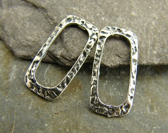 Textured Sterling Rectangle Connectors or Links - 8x16mm - One Pair - Two Pieces - Artisan Sterling Findings - ltsr
