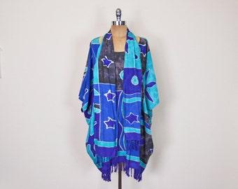Vintage 90s 70s Blue Batik Print Dress Tribal Print Caftan Dress Mini Dress Fringe Scarf Belt Ethnic Dress Hippie Dress Boho Dress S M L