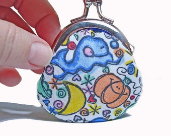 Happy Lemons and Whales - Littlest Round Coin Purse Kiss Lock Metal Frame Purse
