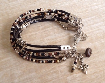 Womens Bracelet - Layering Bracelet - Everyday Bracelet - Black & Brown Leather Bracelet - Seed Bead Bracelet - Choose 1 Charm