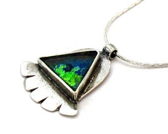 Blue Roman Glass Hamsa Pendant, 925 Silver Judaica, Roman Glass Hamsa, Triangle Roman Glass Hand of Luck, Holy Land Jewelry, Israel Jewelry