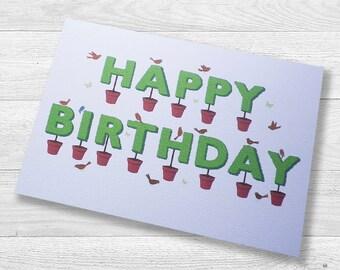 Topiary Happy Birthday Card