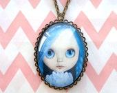 Blue Hair Blythe Doll Pendant Necklace - vampire pastel goth