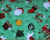 Fat Quarter Cute and Whimsical Christmas on Green Background Fabric
