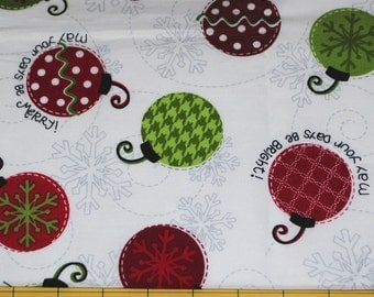 Fat Quarter Cheery Whimsical Christmas Ornaments Fabric