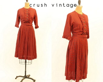 50s Dress Medium / 1950s Vintage Dress Toni Todd Gingham  / Picnic in the Park Dress