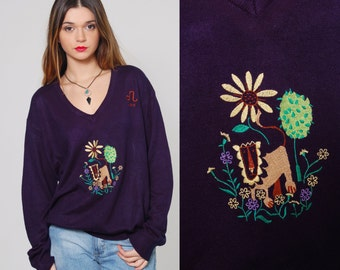 Vintage 70s LION Print Sweater LEO Zodiac Sign Long Sleeve NOVELTY Knit Top Embroidered Navy Blue Pullover Jumper