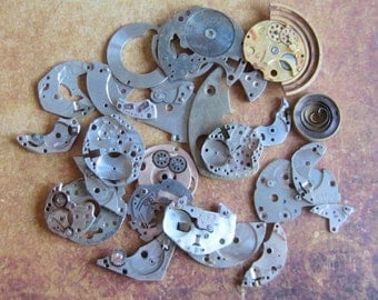 Vintage WATCH PARTS gears - Steampunk parts - u5 Listing is for all the watch parts seen in photos