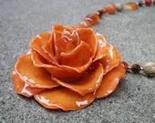 Kostenloser Versand REAL Orange STIEG und Schattierungen von Orange Karneol 14k Gold gefüllte Halskette