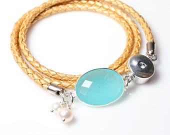 Gemstone and Leather Bracelet / Womens Wrap Bracelet / Gold Leather Bracelet / Angelina