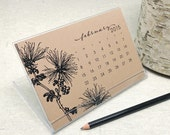 2015 calendar - 2015 desk calendar - black ink on kraft - botanical art illustrations