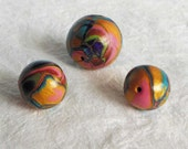 3 Colorful Beads, 28mm and 20mm