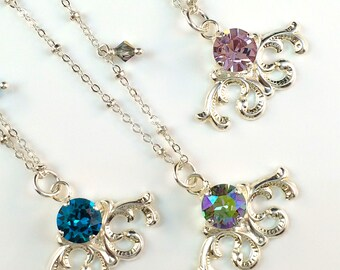 New Swarovski Crystal Charm Pendant Filigree Necklace (Choice of Violet/Indicolite Blue or Paradise Shine)