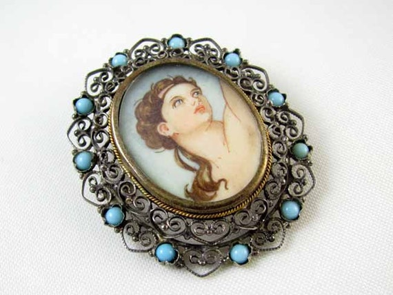 Antique Italian vintage Italy hand painted portrait pendant pin brooch blue Persian turquoise