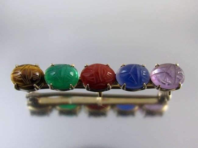Vintage Art Deco gem stone scarab bar pin sterling silver 14k Symmetalic WE Richards