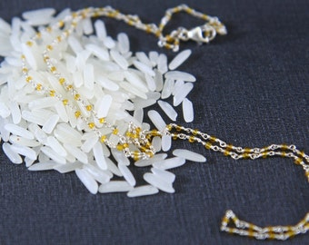 Tiny bead necklace, Delicate Transparent Lemon Yellow Seed Beads, Tiny Rosary Chain