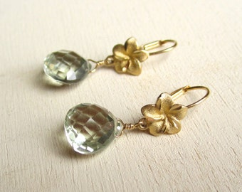 Solid 14k gold primrose earrings with green amethyst