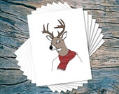 Fall Deer - set of 8 - A2 folded note cards & envelopes
