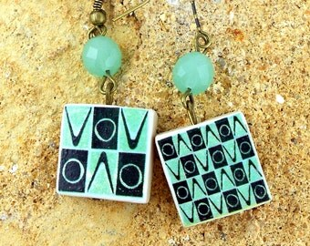 Portugal  Antique Green Tile Replica Earrings,   Gafanha, Aveiro - waterproof and reversible 364
