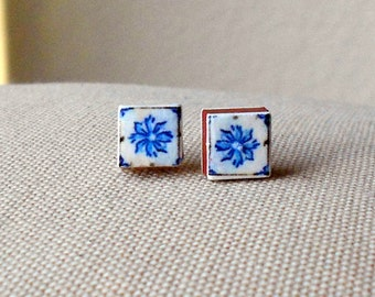 Portugal Blue Tiles Replica Post Stud Earrings (see actual Facade photo) 501