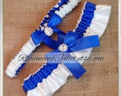 Satin Bridal Garter Set with Rhinestone Accents.. Shown in royal blue/ivory...1 to Keep 1 to Toss...MANY COLORS AVAILABLE