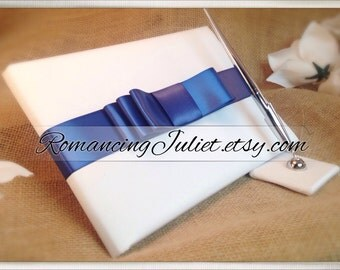 Custom Colors Wedding Guest Book and Pen Set...You Choose the Colors.... shown in white/antique blue