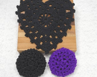 Pot Scrubbers and Heart Dishcloth kitchen set. Nylon net, cotton, heart, cleaning aid, scratch free, scour pad, great colors. Pick your 3pc.
