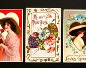 3 Early 1900's Vintage VALENTINE'S POSTCARDS Unposted GERMANY Embossed Colorful
