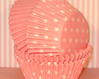 Light Pink Polka Dot and Solid Cupcake Liners  (40 Qty) Pastel Pink Cupcake Liners, Pastel Pink Polka Dot Liners, Pink Cupcake Liners