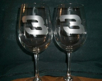 Set Of 2 Dale Earnhardt Nascar Wine Glasses