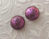 Dichroic Fused Glass Earrings - Stud Earrings - Dichroic Earrings - Post Earrings - Small earrings - Tiny Stud Earrings - Pink Earrings 1361