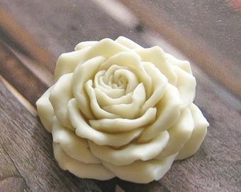 Big white rose cabochon - 2 pcs - (CA831-E)