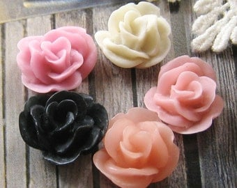 17mm - Assorted Lovely Rose cabochon - 10 pcs (CA837-Ass-5C)