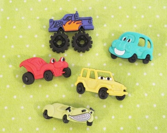 Cars and Trucks  Buttons  Set of 5 What's Under the Hood