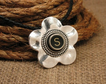 Typewriter Key Jewelry - Flower Pendant - Authentic Black Initial S on Antique Silver Floral Pendant w/ Matching Black Leather Cord Necklace