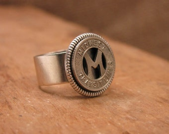 Transit Token Jewelry - Coin Jewelry - Coin Ring - Midwest Transit Lines, Ames, Iowa - Initial M Transit Token Ring - Personalized Ring