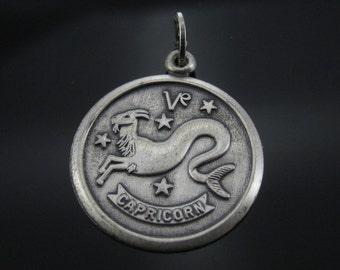 Vintage Beau Capricorn Sterling Silver Zodiac Horoscope Charm