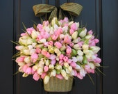 Spring Tulips XL, Front Door Decor,  Country Home Decor, Shabby Chic,Wreaths, Pink Tulips, White Tulips, XL Wreath for Spring, Easter Tulips