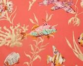 Tropical Sealife Fabric 1 Yd P Kaufmann Fishermans Find in Coral Aqua Turquoise Sea Shells Nautical Beach Print Ocean Fish Seashells