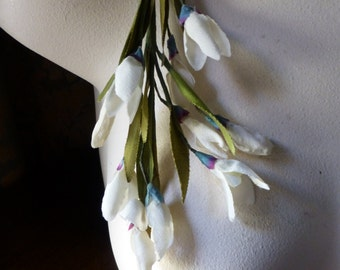 Ivory Flowers Vintage Silk Snowdrop for Bridal, Wreaths, Garlands, Boutonnieres, Millinery MF 2lg