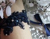Garter Set,Navy Garter Set,Navy Garter,Something Blue,Blue Wedding,Elegant wedding Garter,Plus Size Garter,Plus Size ,Lace Garter